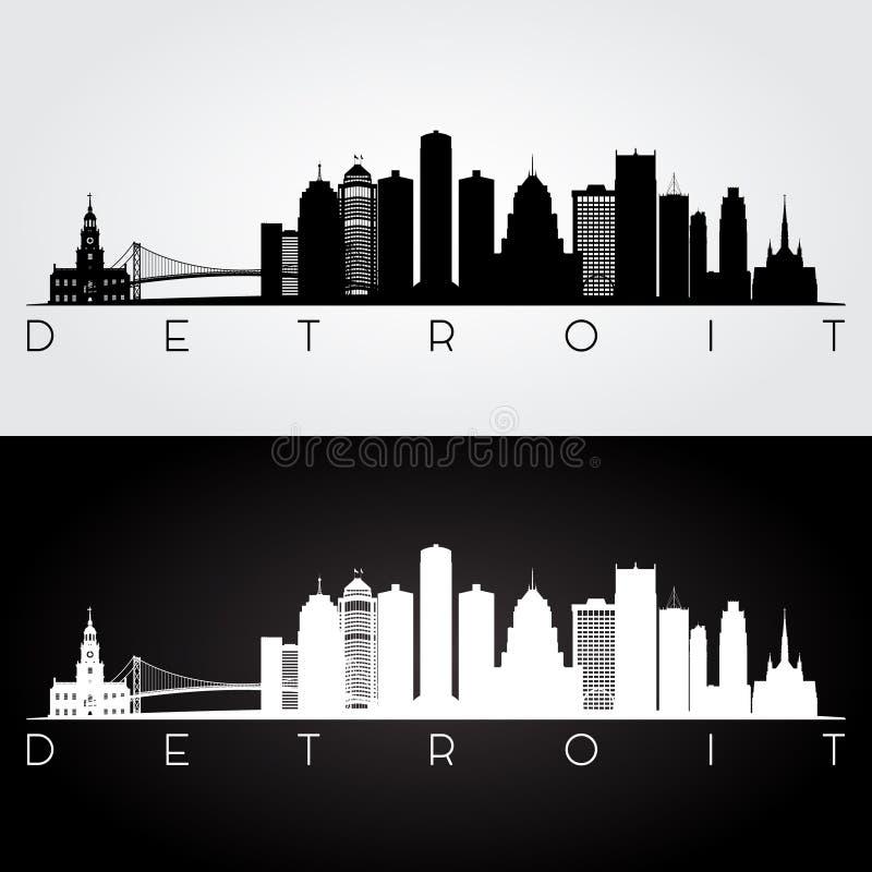 Silhouette d'horizon de Detroit photos stock
