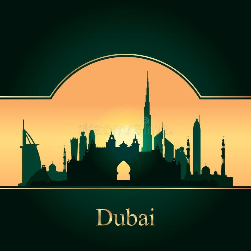 Silhouette d'horizon de Dubaï sur le fond de coucher du soleil illustration stock