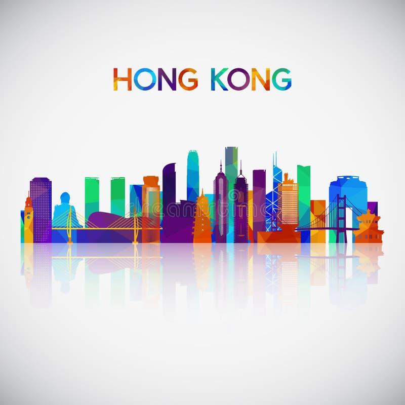Silhouette d'horizon de Hong Kong dans le style géométrique coloré illustration de vecteur
