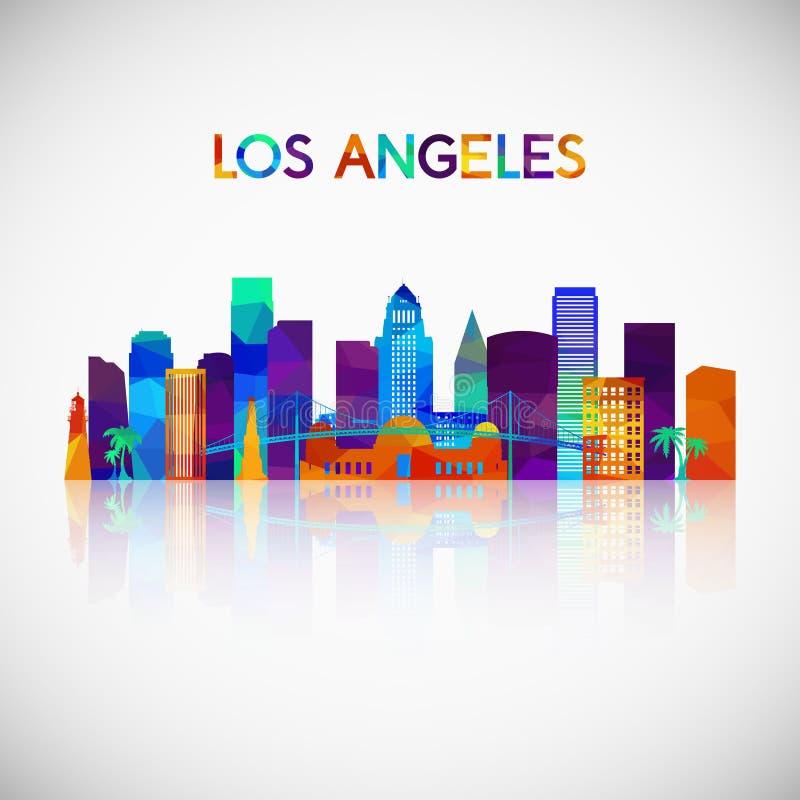 Silhouette d'horizon de Los Angeles dans le style géométrique coloré illustration de vecteur