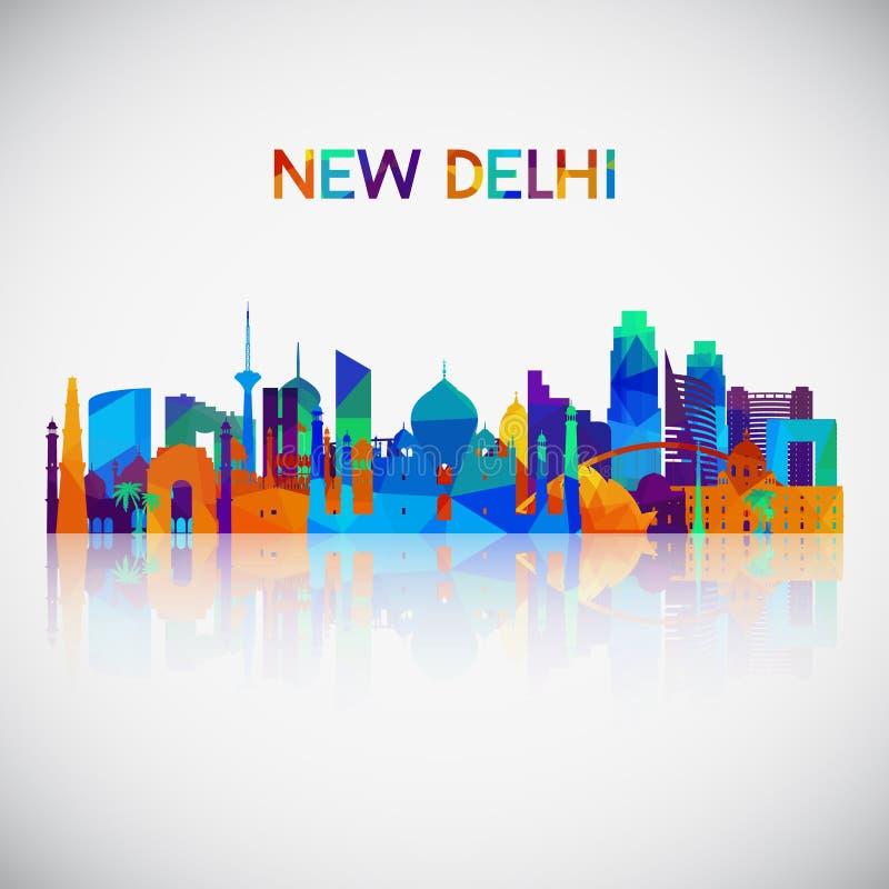 Silhouette d'horizon de New Delhi dans le style géométrique coloré illustration de vecteur