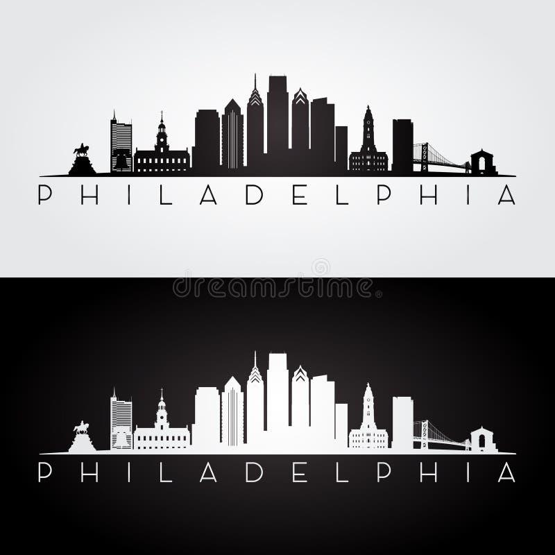 Silhouette d'horizon de Philadelphie image stock