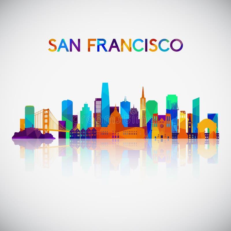Silhouette d'horizon de San Francisco dans le style géométrique coloré illustration libre de droits