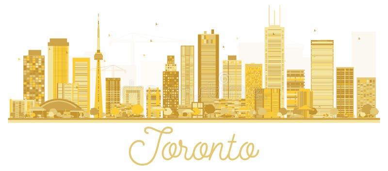 Silhouette d'or d'horizon de ville de Canada de Toronto illustration stock