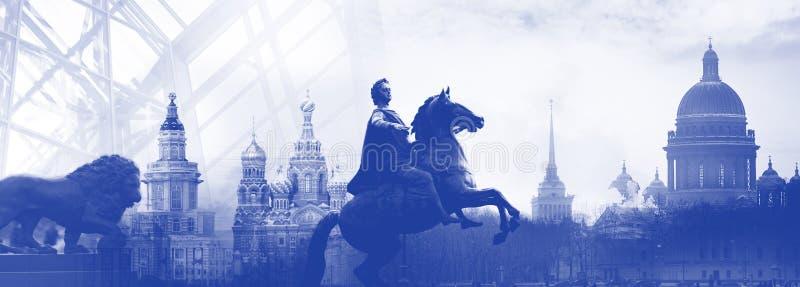 Silhouette d'horizon de ville de la Russie de St Petersbourg, symboles de la ville, collage photo libre de droits