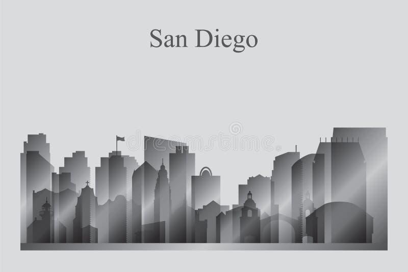 Silhouette d'horizon de ville de San Diego dans la gamme de gris illustration de vecteur