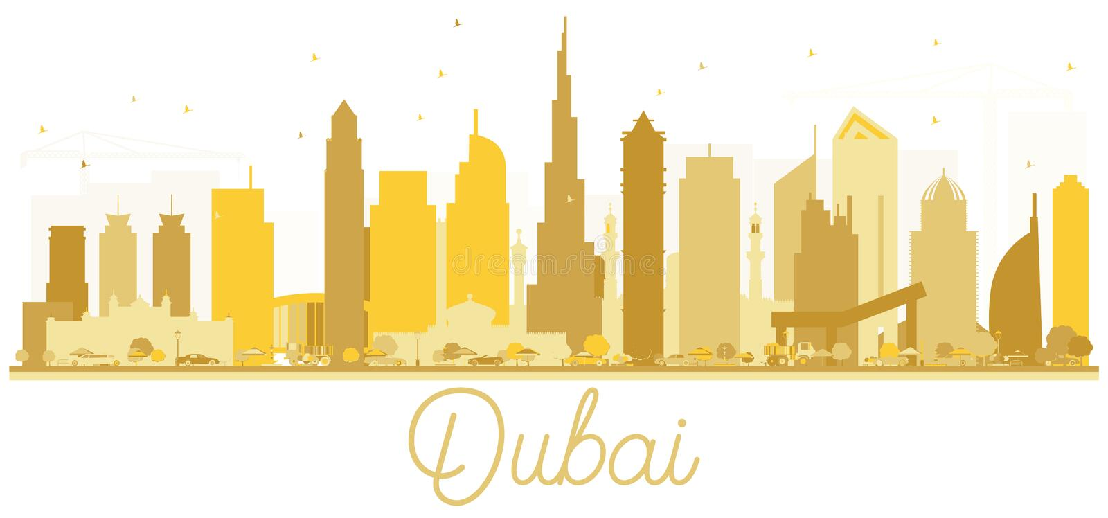 Silhouette d'or d'horizon de ville de Dubaï EAU illustration stock