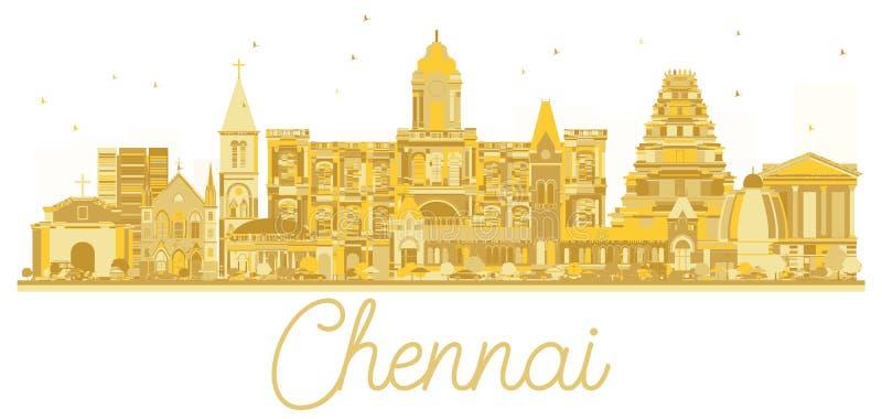 Silhouette d'or d'horizon de ville d'Inde de Chennai illustration de vecteur