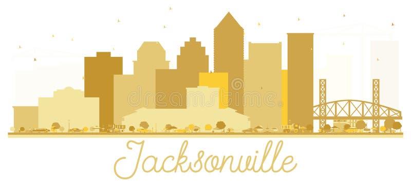 Silhouette d'or d'horizon de ville de Jacksonville la Floride Etats-Unis illustration stock