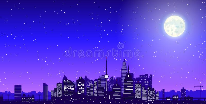Silhouette d'horizon de ville la nuit illustration stock
