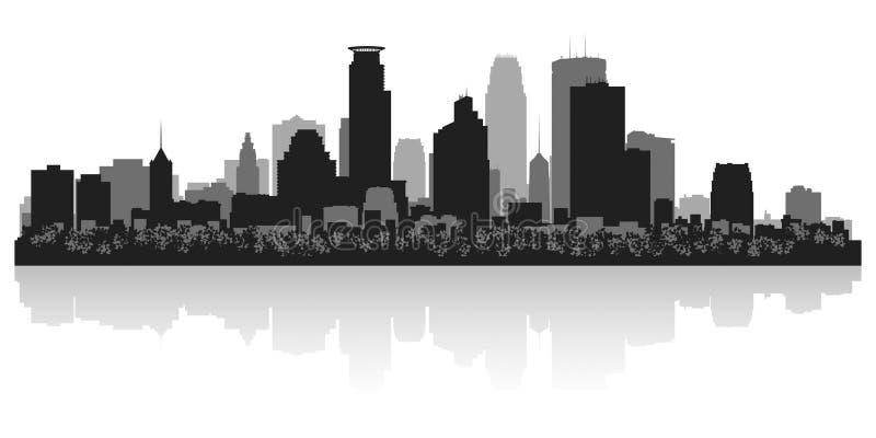 Silhouette d'horizon de ville de Minneapolis Minnesota illustration stock