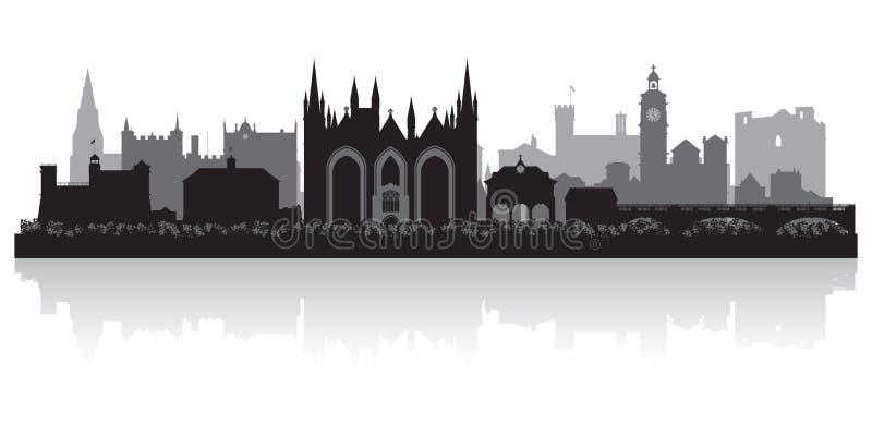 Silhouette d'horizon de ville de Peterborough Angleterre illustration stock