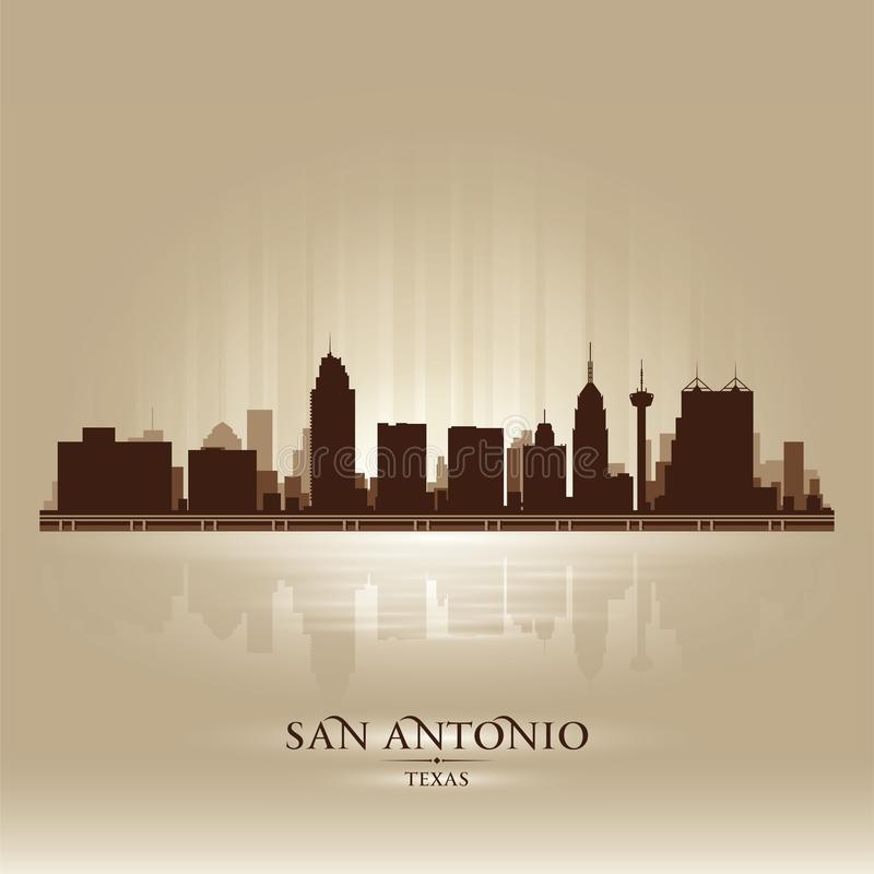 Silhouette d'horizon de ville de San Antonio Texas illustration libre de droits