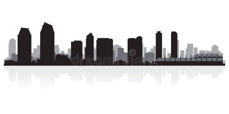 Silhouette d'horizon de ville de San Diego California illustration libre de droits