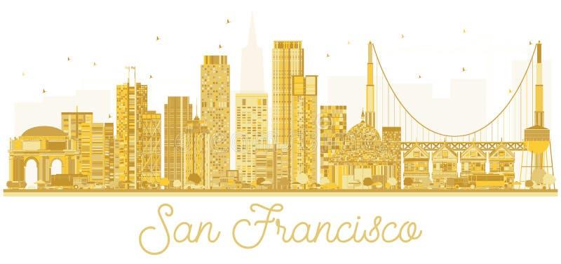 Silhouette d'or d'horizon de ville de San Francisco Etats-Unis illustration libre de droits