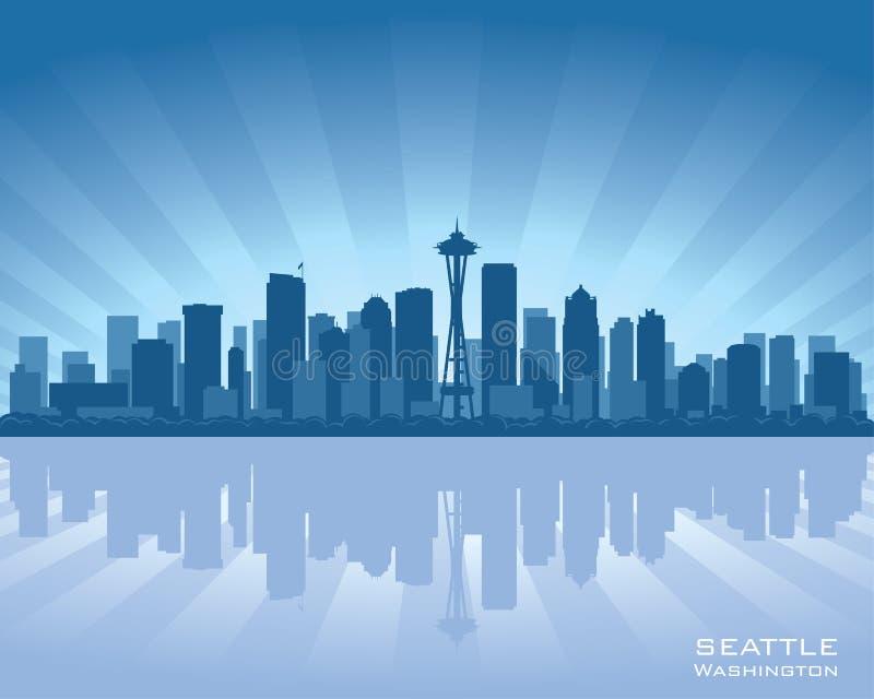 Silhouette d'horizon de ville de Seattle Washington illustration stock