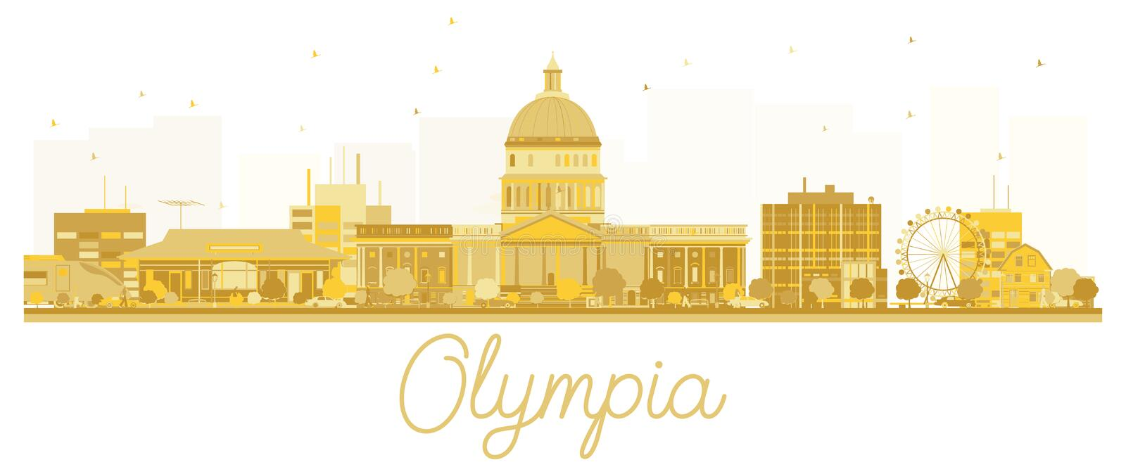 Silhouette d'or d'horizon d'Olympia City illustration stock
