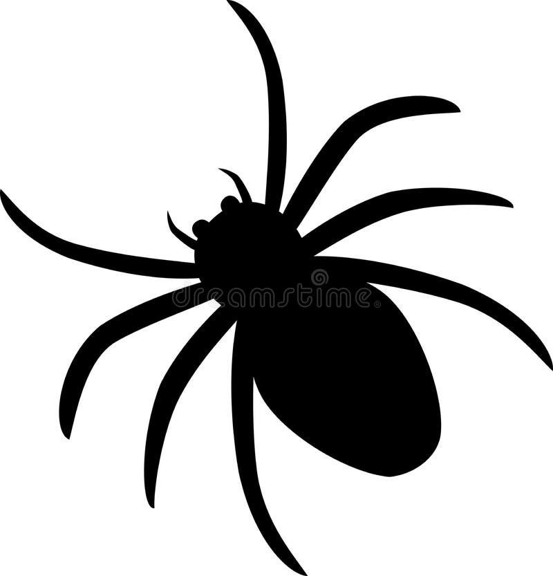 Silhouette d'icône d'araignée d'isolement sur le fond blanc illustration libre de droits