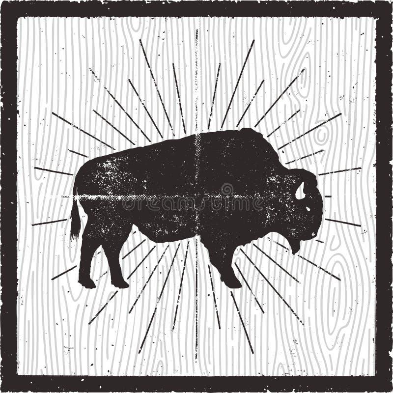 Silhouette d'icône de bison Rétro effet d'impression typographique Symbole de Buffalo avec des rayons de soleil d'isolement sur l illustration libre de droits