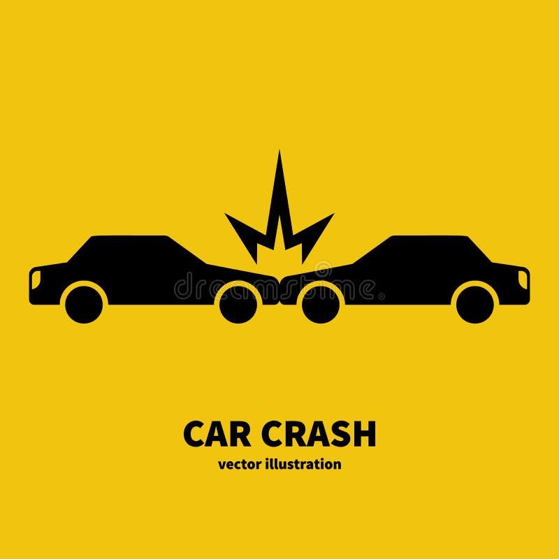 Silhouette d'icône de noir d'accident de voiture illustration de vecteur