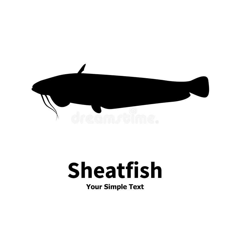 Silhouette d'illustration de vecteur de poisson-chat de poissons illustration libre de droits