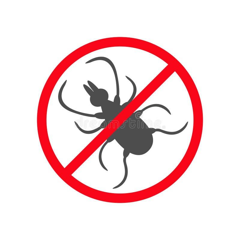 Silhouette d'insecte de coutil Icône de coutils de cerfs communs d'acarides Parasite noir dangereux Interdiction aucun panneau d' illustration stock