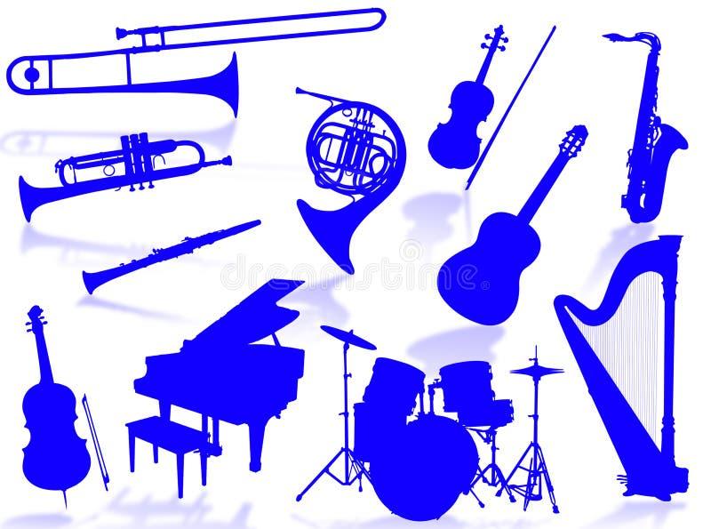 Silhouette d'instruments musicaux illustration libre de droits