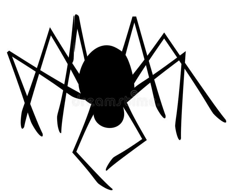 Silhouette d'isolement d'araignée illustration stock