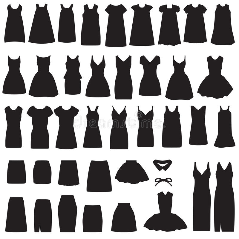 silhouette d'isolement de robe et de jupe illustration stock