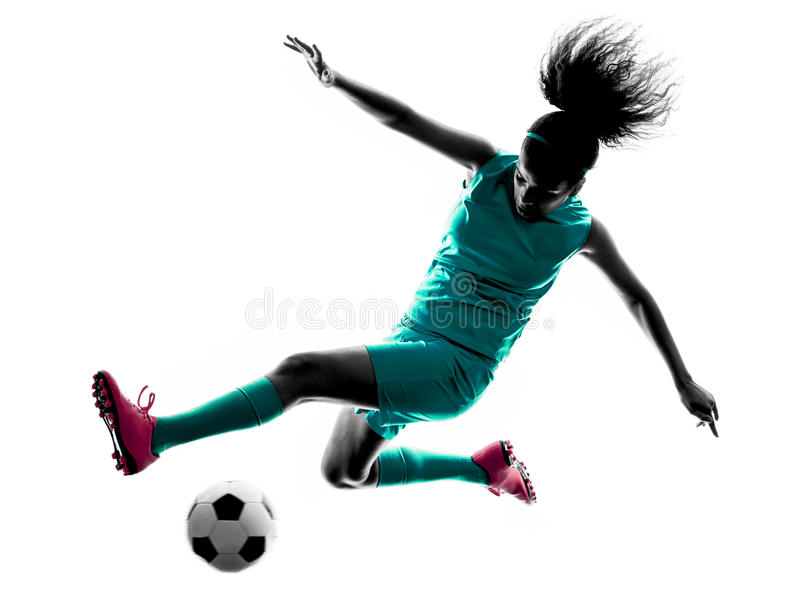 Silhouette d'isolement par footballeur d'enfant de fille d'adolescent photo stock