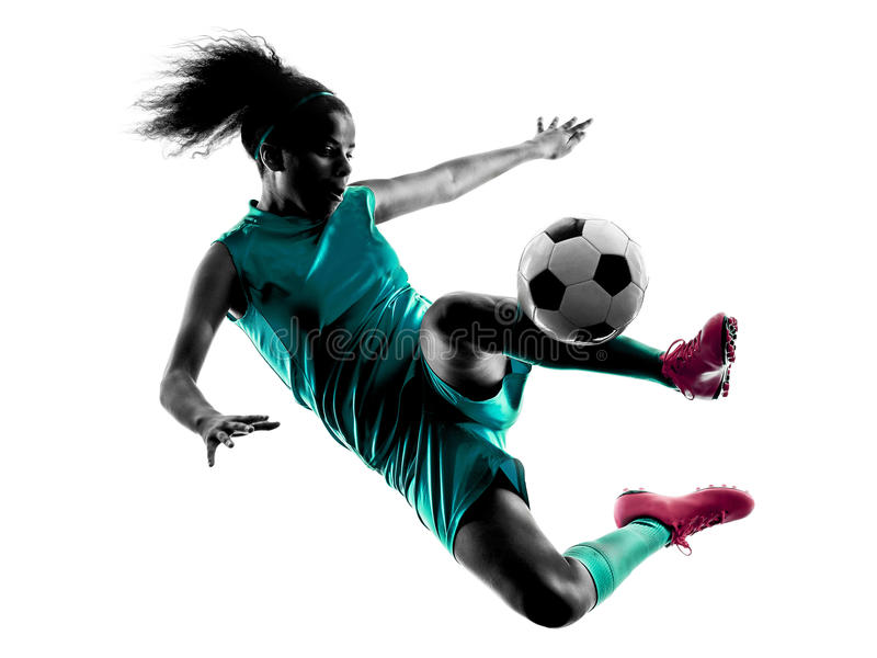 Silhouette d'isolement par footballeur d'enfant de fille d'adolescent photographie stock