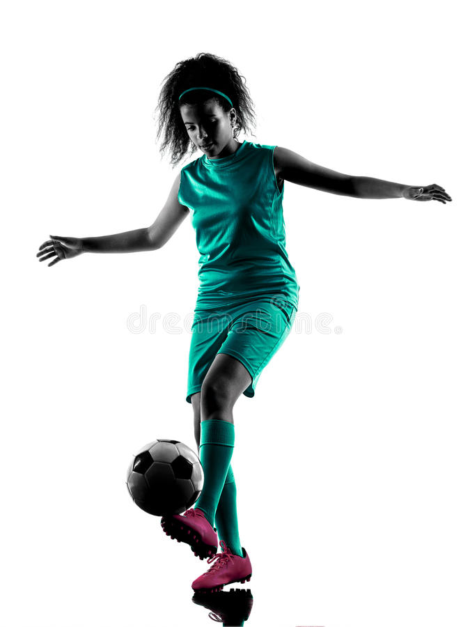 Silhouette d'isolement par footballeur d'enfant de fille d'adolescent photographie stock libre de droits