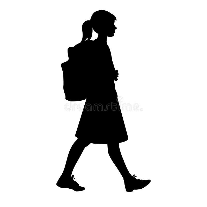 Silhouette d'isolement d'une fille avec le sac à dos d'école allant à l'école illustration de vecteur