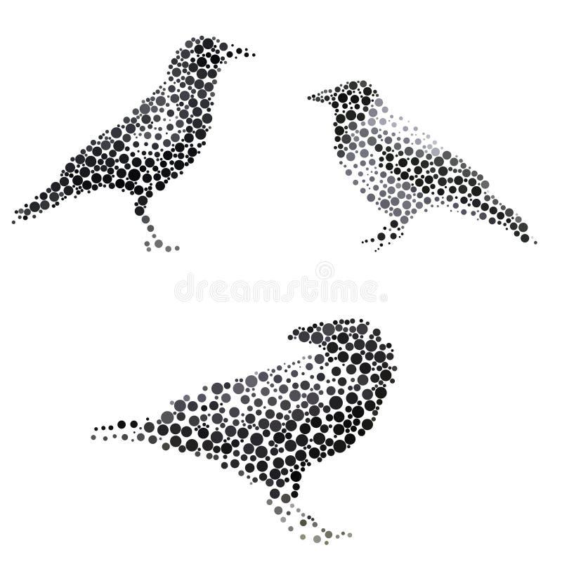 Silhouette d'oiseau se composant du cercle illustration stock