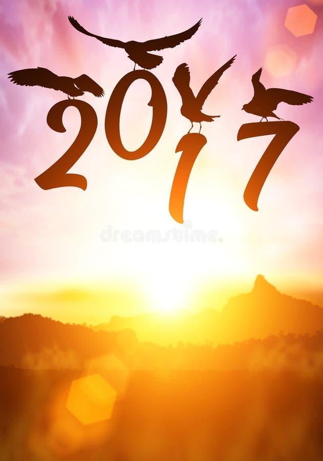 Silhouette d'oiseau stockant le texte de la bonne année 2016 photo stock