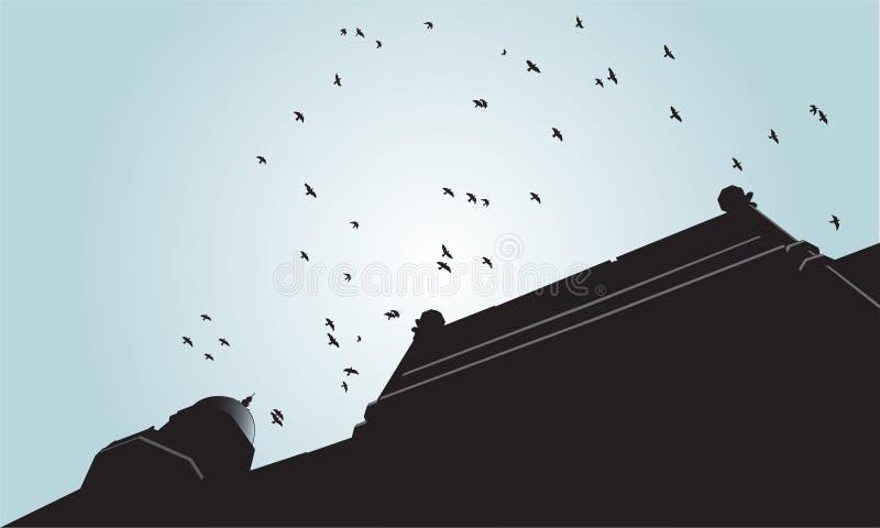 Silhouette d'oiseaux volant au-dessus du vieux bâtiment illustration libre de droits