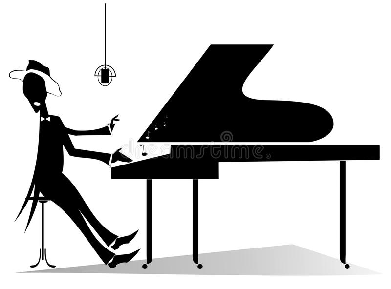 Silhouette d'original de pianiste illustration libre de droits