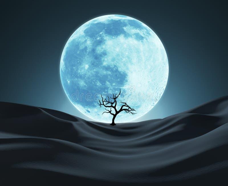 Silhouette d'un arbre isolé contre la lune de Big Blue illustration libre de droits