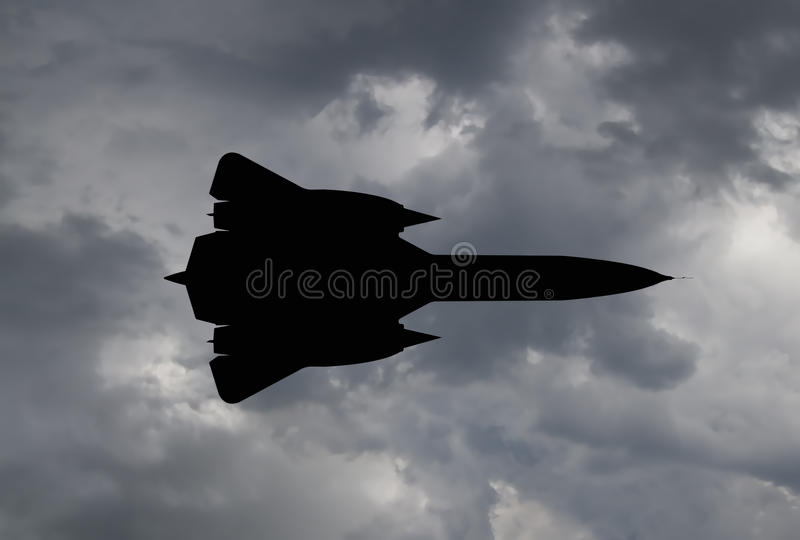 Silhouette d'un avion d'espion illustration stock