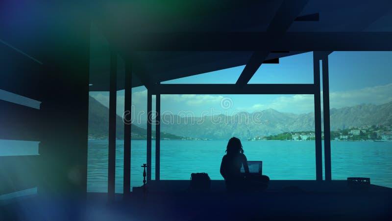 Silhouette d'un blogger s'asseyant dans un endroit de paradis et travaillant à l'ordinateur illustration stock
