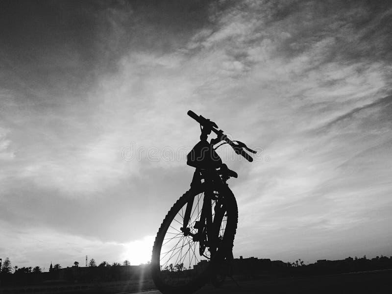 silhouette d'un bycicle debout photo libre de droits