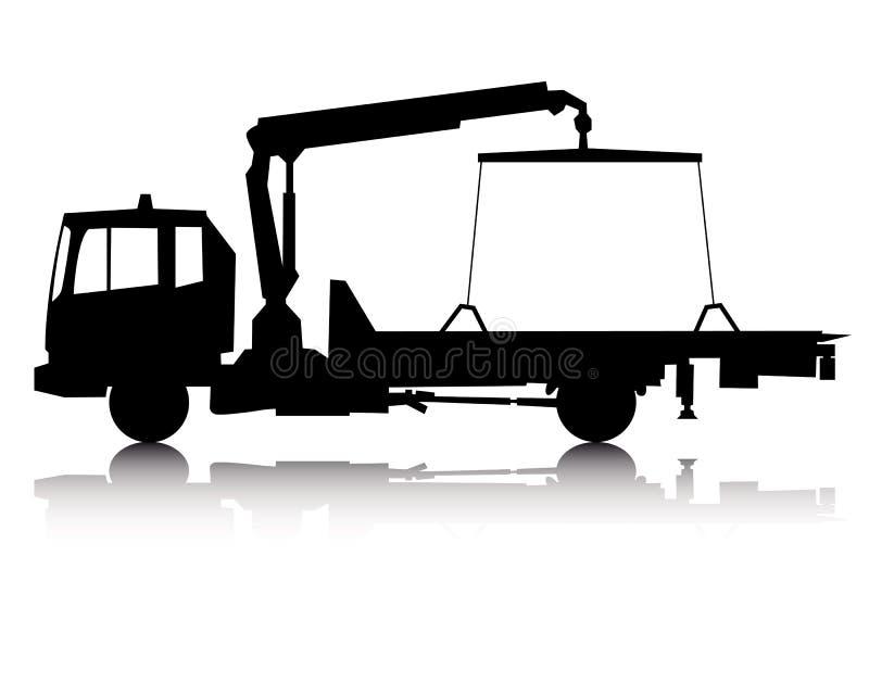 Silhouette d'un camion de remorquage illustration de vecteur