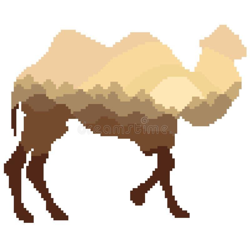 Silhouette d'un chameau avec un intérieur de modèle de paysage dans des tons bruns et beiges peints avec des places et des pixels illustration de vecteur