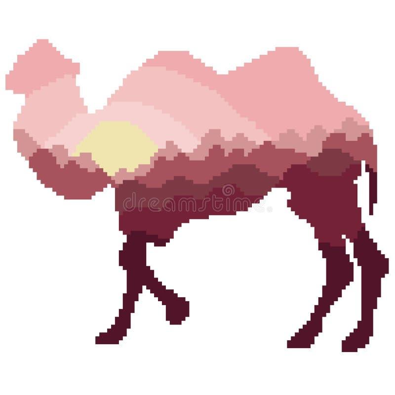 Silhouette d'un chameau avec un intérieur de modèle de paysage dans des tons claret-roses peints avec des places et des pixels illustration libre de droits