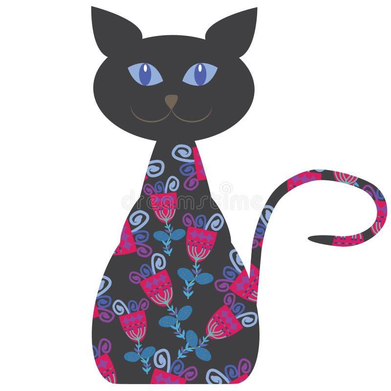 Silhouette d'un chat avec des fleurs,  illustration de vecteur