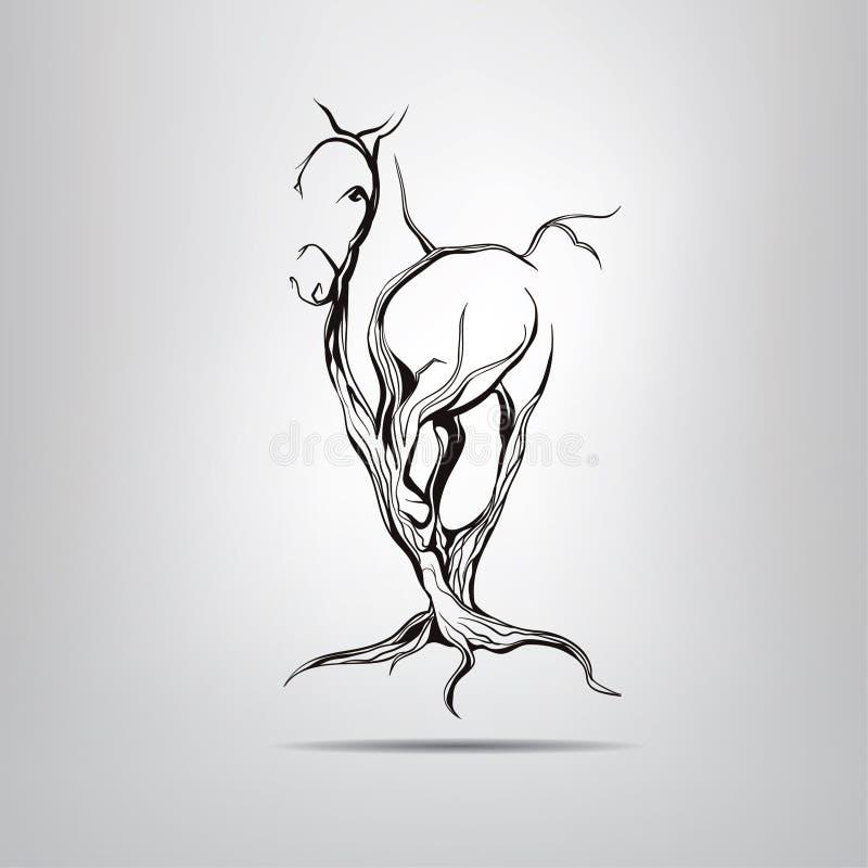 Silhouette d'un cheval courant dans un arbre image stock