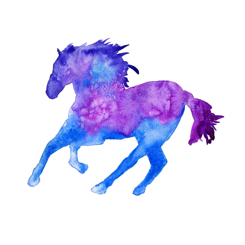 Silhouette d'un cheval D'isolement Illustration d'aquarelle illustration libre de droits