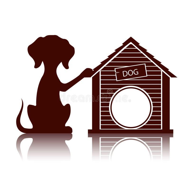 Silhouette d'un chien près de l'illustration de chenil illustration stock