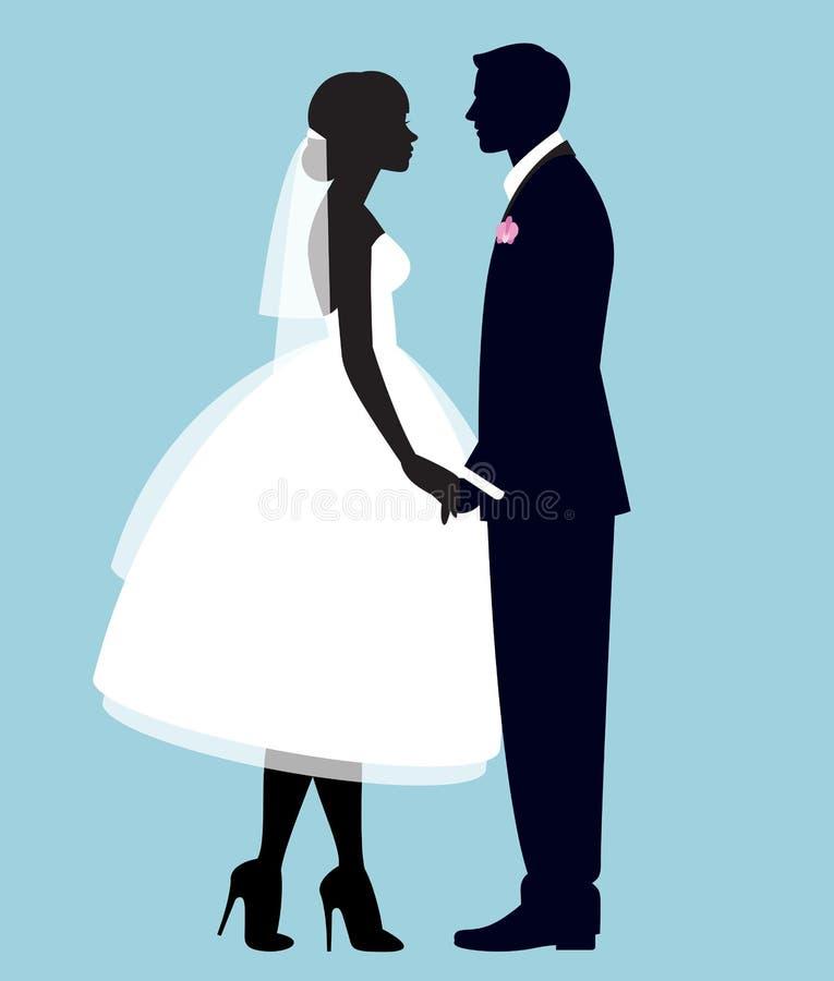Silhouette d'un couple affectueux des nouveaux mari?s mari? et jeune mari?e illustration libre de droits
