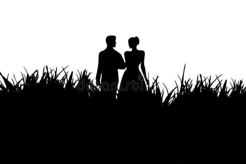 Silhouette d'un couple affectueux en noir et blanc illustration de vecteur